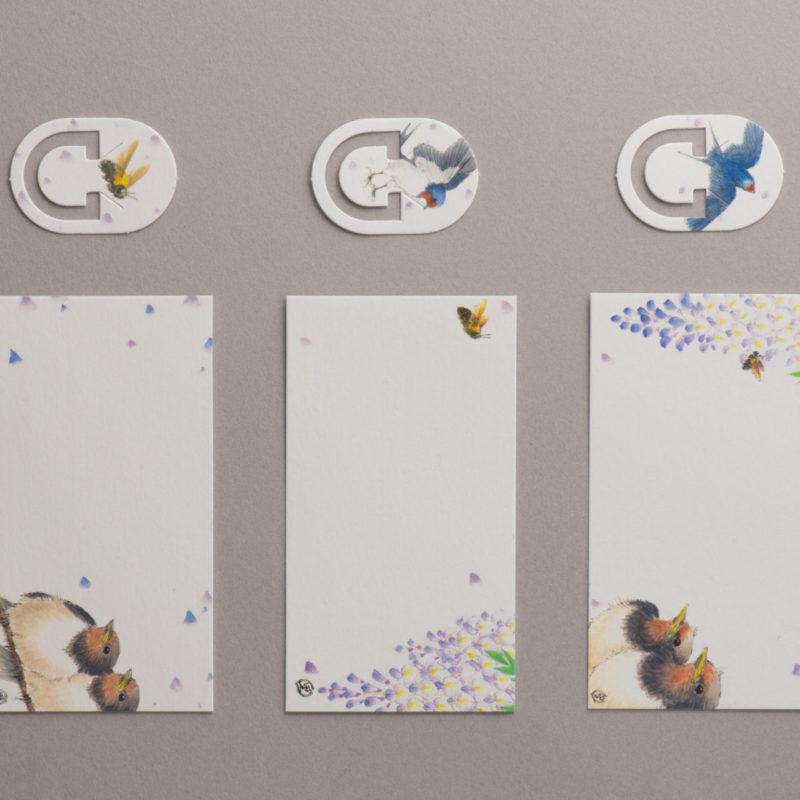 MESSAGE CARD&PAPER CLIP【藤と燕】作家/河田 里美